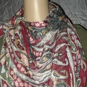 Large burgundy w/paisley design scarf
